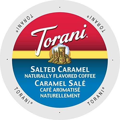 Torani Salted Caramel Flavored Coffee, Single Serve Cups for Keurig K Cups Brewer, 24Count