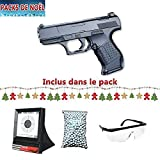 Galaxy Pack Cadeau De Noel Airsoft G19 Type Walther Mini P99 Noir Full Metal à...