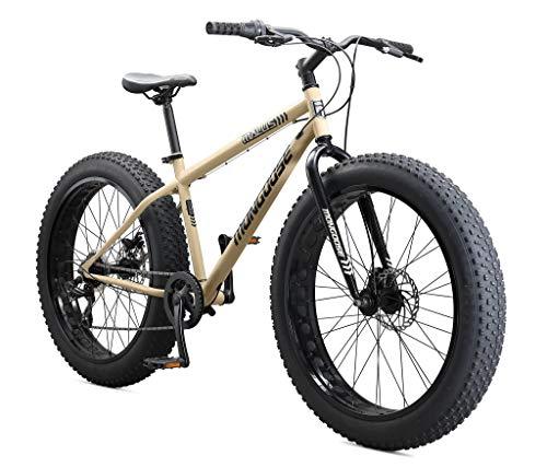 Mongoose Malus Adult Fat Tire Mountain Bike, 26-Inch Wheels, 7-Speed, Twist Shifters, Steel Frame, Mechanical Disc Brakes, Tan