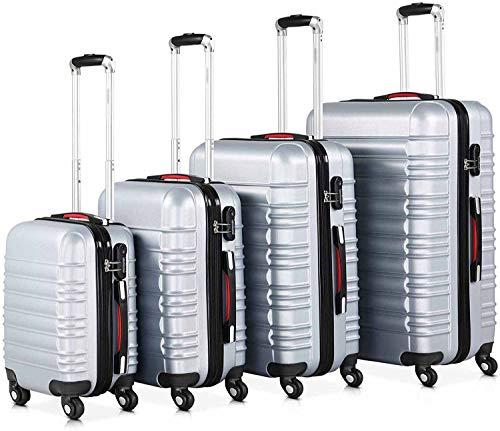 4 ruedas 360 grados Equipaje Manija telescópica ABS Bloqueo de plástico Contraseña Combinación Candado Candado Caja de equipaje,Silver