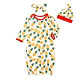 Unisex Baby Cotton Gown Pineapple Cotton Nightgowns Sleepwear Hat Headband Outfit