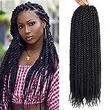 Admutty Havana Twist Crochet Hair 6 Packs 22 inch Crochet Braids Senegalese Twist Crochet Braiding Hair (1B#)