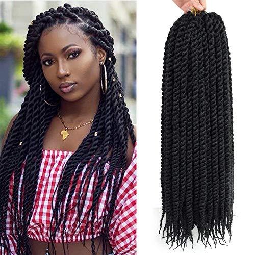 Admutty Havana Mambo Twist Crochet Hair 6 Packs 22 inch Crochet Braids Senegalese Twist Crochet Braiding Hair (1B#)