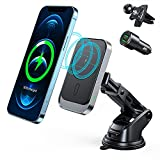 Mag-Safe Car Charger Mount, 15W Magnetic Car Wireless Charger for iPhone 12/12 Pro/ 12 Pro Max/ 12 Mini, Auto-Alignment Air Vent Dashboard Car Charging Holder(with QC 3.0 Car Charger)