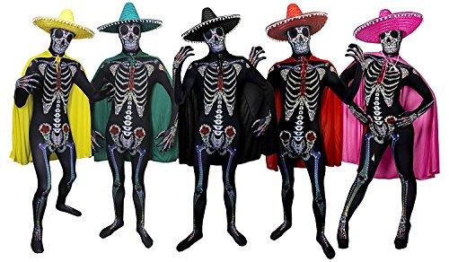 I LOVE FANCY DRESS LTD Sugar Skull KOSTÜM VERKLEIDUNG =Bodysuit/Skinsuit = 4 VERSCHIEDENEN FARBENDE UMHÄNGEN + GLEICH FARBIGE Sombrero =Fasching+KARNEVALHALLOWEEN=Unisex= ROTER UMHANG +Sombrero-Large