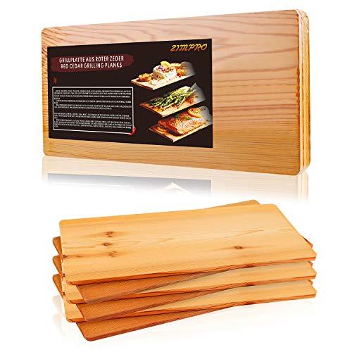 TRUSTTO Grillbretter, Zedernholzbrett zum Grillen, Räucherbretter aus Zedernholz hergestellt aus 100% natürlichem Red Zedernholz, Grillbretter BBQ (6er Set)