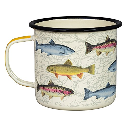 Gentlemen's Hardware Hook, Line, & Sinker Sportsman's Fishing Typography Camping Enamel Mug, White