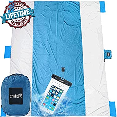 Chillax Outdoor Camping Blanket - Huge 9' x 10' for 7 Adults - Best Mat for Picnic, Camping, Hiking and Music Festivals (White with Blue)