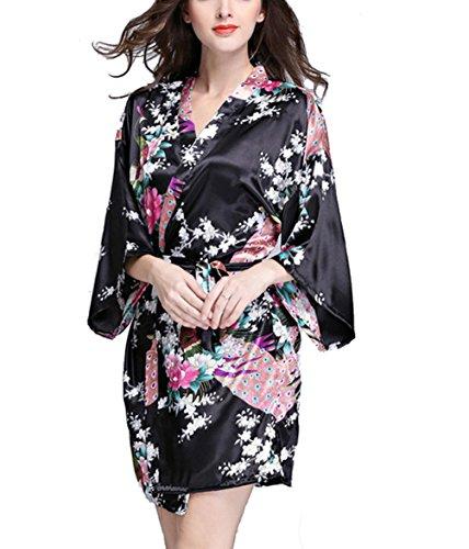 TieNew Donna Pigiama Kimono Raso Vestaglia Camice da Notte Con Cintura Elegante Vestaglia Pajamas Corta, Kimono giapponese da donna