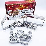 Stampo in acciaio inossidabile per biscotti, 3D, Natale, per la casa, il pane di spezie, fai da te, set di taglia-pane, set di 18 pezzi