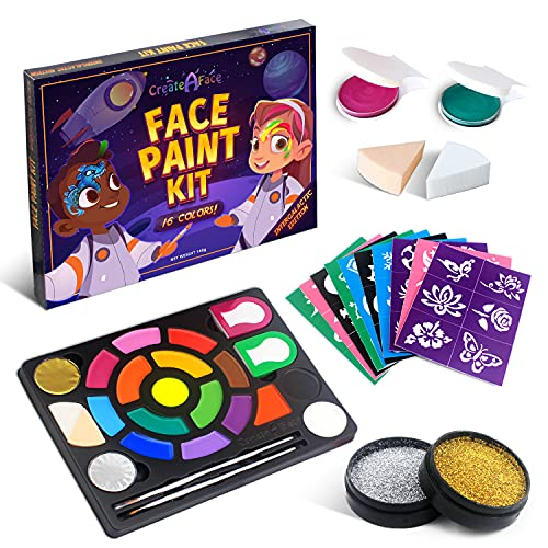 Face Painting Kit for Kids - Face Paint 16 Water Based Colors, 60 Stencils, 2 Brushes, 2 Glitters, 2 Sponges & 2 Hair Chalks - Video Tutorials & eBook - 100% Safe, Easy On and Off - Intergalactic
