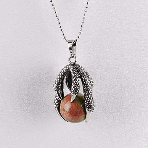 NC188 Collares Pendientes de Piedra para Mujer Garra de dragón Tribal gótica Piedra Preciosa Natural Unakite Collares Pendientes con Cadena de Plata Regalo