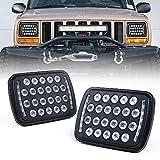 Xprite Black 5x7 7X6 LED Headlights Projector, Hi/Low Sealed Beam Rectangular Headlamp Conversion Kit w/DRL H4 9003 Plug for Jeep Wrangler YJ Cherokee XJ H6054 H5054 6052 6053 (DOT Approved) 2PCS