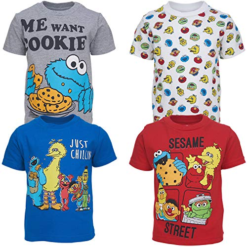 Sesame Street Toddler Boys 4 Pack Crew Neck T-Shirts 5T