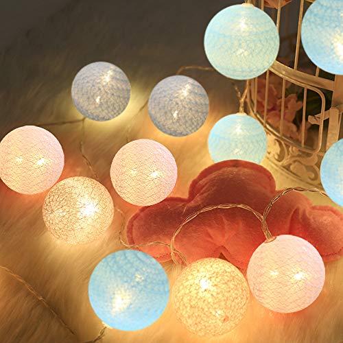 LED Lichterkette mit Cotton Balls Batteriebetrieben, 3M 20 LED Kugel Lichterketten Innen Wandleuchte Weihnachtsbeleuchtung Deko für Party, Garten, Weihnachten, Hochzeit