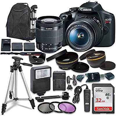 Canon EOS Rebel T7 Digital SLR Camera with Canon EF-S 18-55mm Image Stabilization II Lens, Sandisk 32GB SDHC Memory Cards, Accessory Bundle by Canon