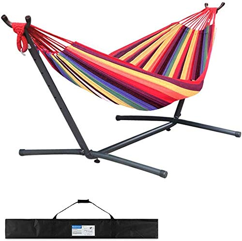 Monthyue Hammock With Stand Lightweight Brazilian Double Hammock With Stand And Suitcase Hammock Swing Chair For Courtyard Garden Backyard Porch Load 550 Lb,Red