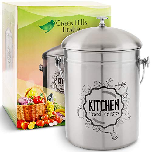 Kitchen Compost Bin Stainless Steel (Food Grade 410) Odorless Countertop Compost Pail -Bonus Charcoal Filters & Gardening Gloves. Insect-proof 1.3 Gallon bucket. Gift Boxed Best Gifts for Gardeners