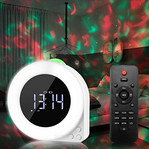 AISBR Star Projector Night Light Alarm Clock, Laser Projector White Noise Wake LED Light Bluetooth Speaker Adult Children Bedroom with Remote Control Bedroom Night Light Mood Ambiance