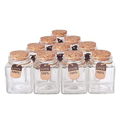 BENECREAT Glazen Favor Potten Flessen met Kurk Stoppers voor ambachten, gunst, kleine projecten en decoraties