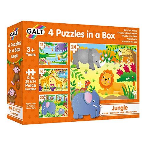 Galt Toys- 4 Puzzles in a Box-Jungle 4 Puzles En Una Caja �