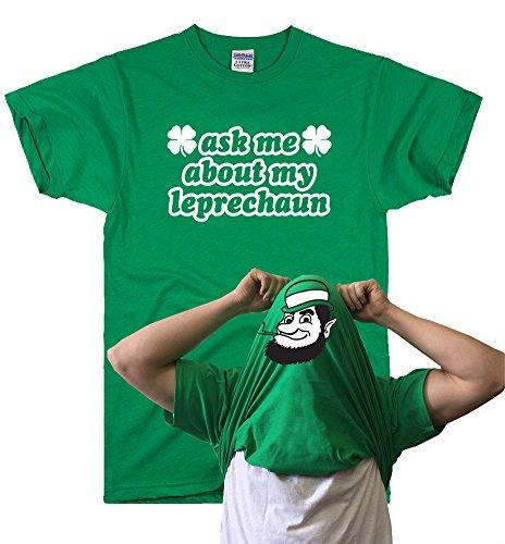 DirtyRagz Men's Ask Me About My Leprechaun Saint Patricks Day T Shirt L Green