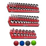 Olsa Tools Magnetic Socket Organizer | 3 Piece Socket Holder Kit | 1/2-inch, 3/8-inch, 1/4-inch Drive | SAE Red | Holds 68 Sockets | Premium Quality Tools Organizer