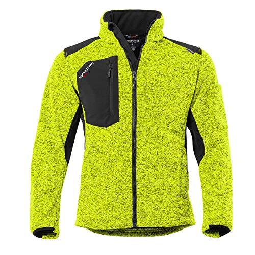 Qualitex Protectano Workwear Gestrickte Fleece Jacke für Männer & Damen mit Softshell und Cordura, Kiwi meliert, S