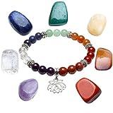 Jovivi 7 Pierres Chakras Naturelles Bracelet Extensible Perles d'Energie Tibétain Bouddhiste + 7 Pièrres Chakras Décoration Porte-Bonheur Thérapie Reiki Bibelot#03