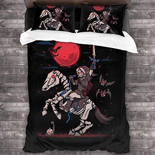 Popun The Red Moon Rises Halloween Legend of Zelda Juego de Cama de 3 Piezas Funda nórdica, Juego de Cama Decorativo de 3 Piezas con 2 Fundas de Almohada