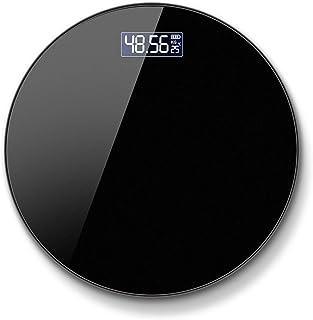 DaMuZ Báscula Inteligente Grasa Corporal Digital con Carga de batería o USB Bascula de Baño Redonda Báscula Personal Electrónica Alta Precisión Cristal Acero Inoxidable 180kg / 400lbs
