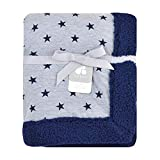 Just Born Boys and Girls Newborn Infant Baby Toddler Nursery Dream Super Soft Plush Receiving Swaddle Blanket, Blue Stars, One Size