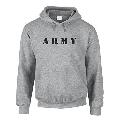 shirtdepartment Hoodie Army Kapuzenpullover Sweater Pullover Armee Bundeswehr, grau-schwarz, M