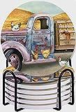 DECISAIYA Posavasos para bebidas,Edad Camión Pollos gallinas Animales de granja Viejo camión oxidado Carretilla Rusty relic Corral juego de 6 posavasos con soporte de Metal,Para Casa Restaurante Y Bar
