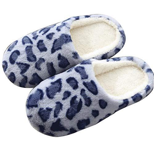 Zapatillas de algodón casero Llamador de leopardo de las mujeres de los...