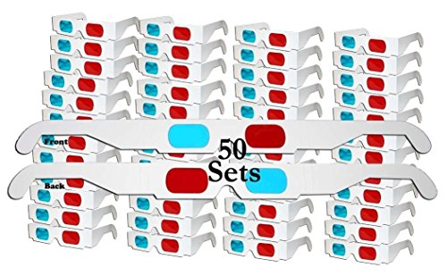 ZiYan- 50 Pairs - Flat- 3D Glasses Red and Cyan White Frame Anaglyph...
