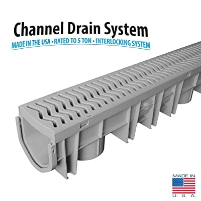 Source 1 Drainage Trench & Driveway Channel Drain with Grate - 1 or 3 Pack