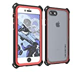 iPhone 7 Waterproof Case, Ghostek Nautical Series for Apple iPhone 8 | Slim Underwater Protection | Shockproof | Dirt-Proof | Snow-Proof | Protective | Adventure Duty | Ultra Fit | Swimming (Red)