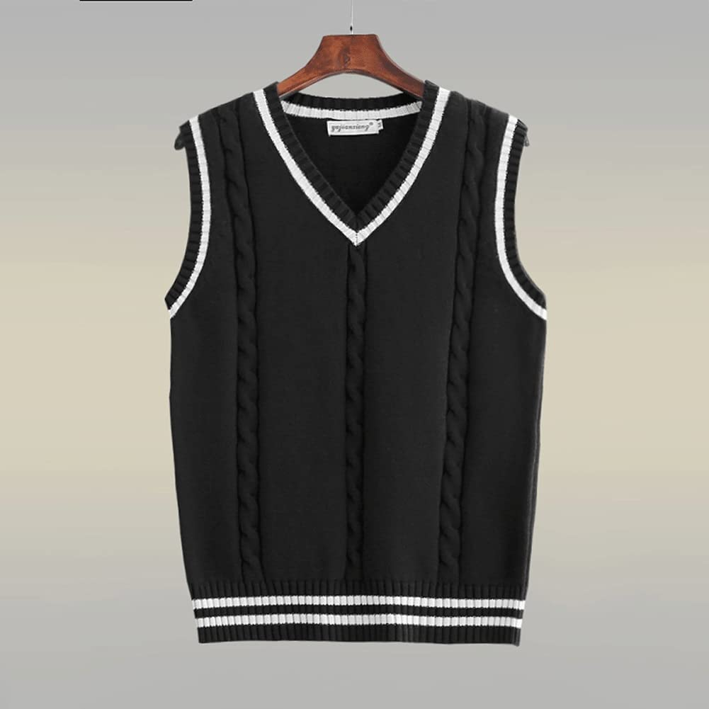 HLDETH Sweater Vest Men Patchwork Vests Preppy-Style Chic Daily Streetwear Leisure Retro Knitted (Color : Black, Size : L Code)