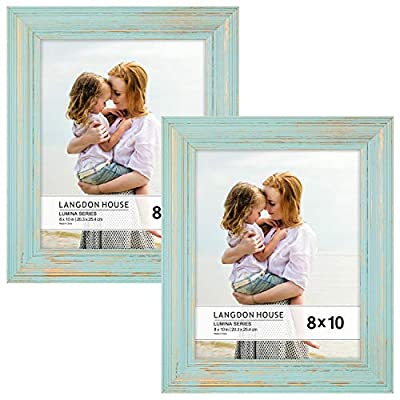 Langdon House 8x10 Real Wood Picture Frames (2 Pack, Eggshell Blue -Gold Accents), Wooden Photo Frame 8 x 10, Wall Mount or Table Top, Lumina Collection