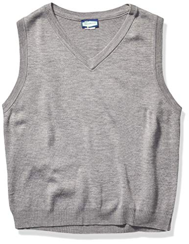 Classroom School Uniforms Men's Adult Unisex V-Neck Sweater Vest, Heather Grey, Small