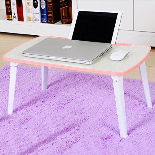 Ordinateur portable bureau lit dortoir lit pliant simple bureau pliant bureau petit bureau bord renforcé sans soudure (Color : Pink)