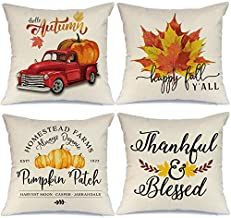AENEY Fall Pillow Covers 18x18 inch Set of 4 Truck Pumpkin Thanksgiving Pillow Covers Throw Pillows for Fall Decor Farmhouse Fall Decorations Decorative Pillows