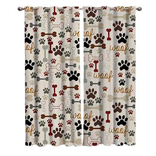 """T&H Home Draperies & Curtains, Cutly Dog Pug for Pet Lover Window Curtain, 2 Panel Curtains for Sliding Glass Door Bedroom Living Room, 54"""" W by 39"""" L"""