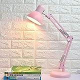 Jinjin Lámpara de Escritorio LED, lámparas de Mesa Que cuidan los Ojos, lámpara de Oficina Atenuación con un botón con Puerto de Carga USB, Control táctil, Rosa, 4W