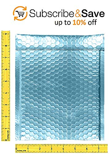 AMZ Bubble mailers 6.5 x 9 Pack of 25 Aqua Ice Padded envelopes 6 1/2 x 9. Metallic Shipping Bags for mailing, Packaging #0 25 Pack Photo #6