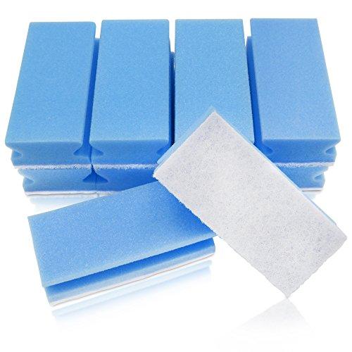 awiwa XXL Putzschwamm Küchenschwamm Spülschwamm Schwamm für Küche und Bad (kratzfrei, Griffleiste, maschinenwaschbar,10-er Pack) (blau-weiß)