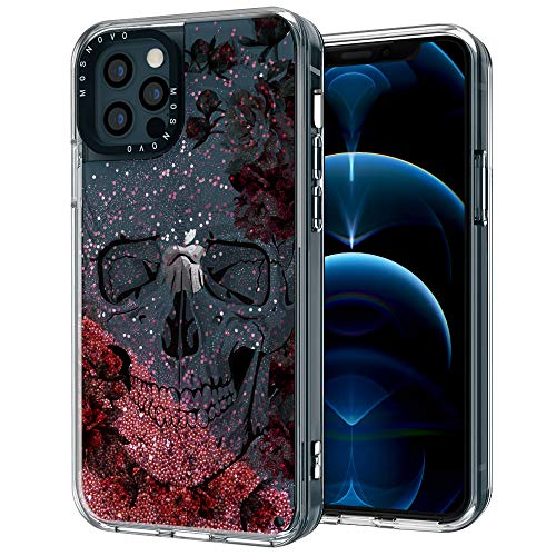 MOSNOVO Luxury Glitter Liquid Rose Gold Sparkle Cool Floral Skull Flower Pattern Designed for iPhone 12 Pro Max Case 6.7 Inch,Clear Case with Design Girls Women,TPU Bumper with Hard Case Cover