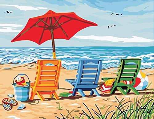 VIKMARI Malen nach Zahlen Kits für Erwachsene 40 cm x 50 cm DIY Ölgemälde Malen nach Zahlen Kit für Kinder Malen nach Zahlen Strandkorb mit Pinseln ohne Rahmen
