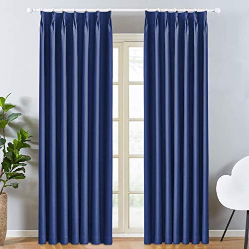 LEEPWEI カーテン 遮光カーテン 1級 2枚組 ドレープカーテン 保温カーテン 防寒 断熱カーテン おしゃれ 北欧 遮熱 ポリエステル100% ブルー 幅100cm丈178cm 遮光 寝室 カーテン セット 断熱 UVカット リビング用